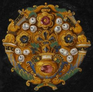 A Rosette Set Jewel. Oil on Canvas by Hans Mielich. From das Kleinodienbuch in the Bavarian State Library.