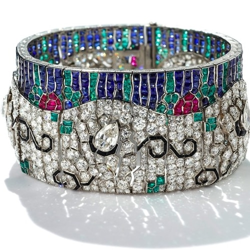 Rubel Freres Art Deco Diamond Gemstone Bracelet.jpg