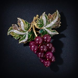 Plique-à-Jour Enamel, Diamond and Red Ruby Grape Cluster Brooch.