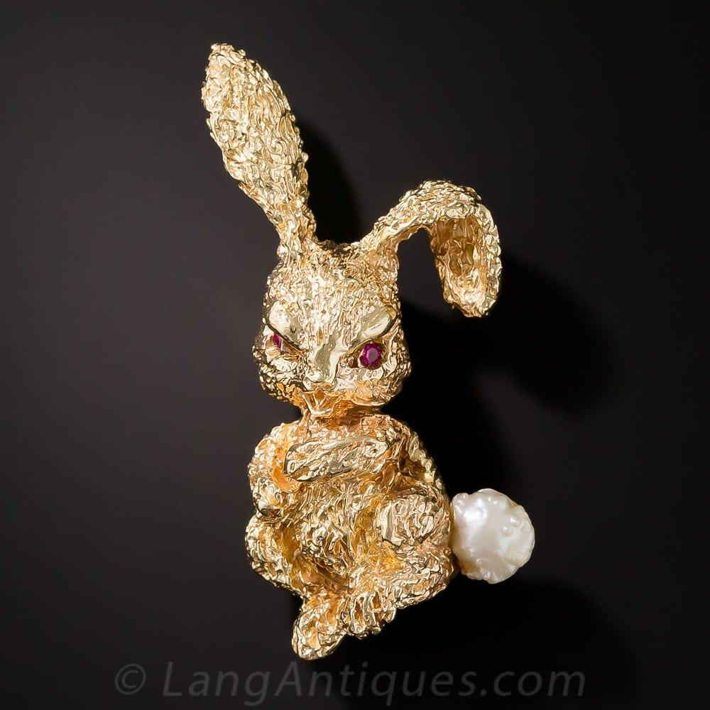 Ruser Pearl and Gold Bunny Brooch.