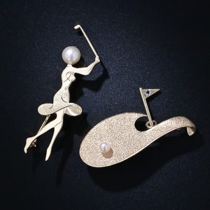 Pair of Ruser Yellow Gold and Pearl Golf Pins.