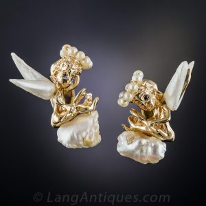 Ruser Freshwater Pearl Angel Earrings.