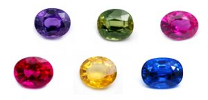 A selection of gem corundum colors. Photo by Apsara.co.uk.