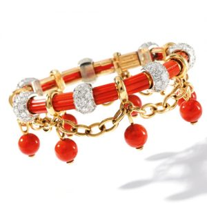 Schlumberger Coral and DIamond Drape Bracelet.