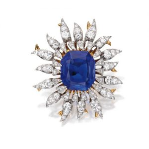 Schlumberger Kashmir Sapphire and Diamond Brooch.