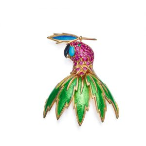 Schlumberger Enamel on Gold Parrot Brooch.