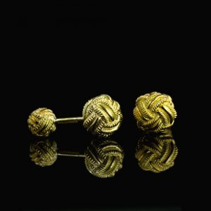 "Tiffany& Co. - Schlumberger 18k Yellow Gold Knotted ""Dumbbell"" Cuff Links."