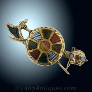 Axe and Shield Traditional Highland Motif Agate Brooch.