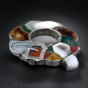 Garter/Buckle Design Multi-Color Agate Brooch.