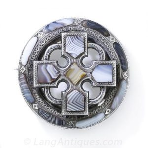 """Blue Lace Agate"" St. Andrew's Cross Brooch."