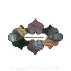 Curvilinier Pebble Brooch with Multi-Color Agates.