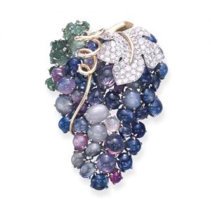 Seaman Schepps Sapphire and Diamond Grape Motif Brooch.