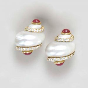 Use of the Whole Shell in Jewelry Continues Today: Seaman Schepps Shell Earrings