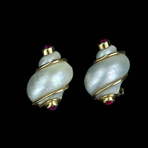 Seaman Schepps Iconic Shell and Ruby Earclips.