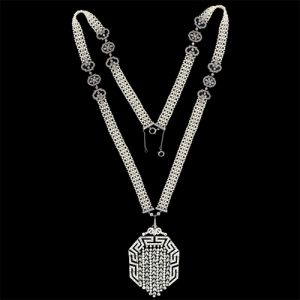 French Art Deco Seed Pearl and Diamond Necklace.