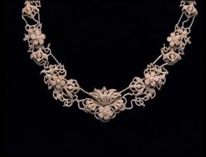 Floral Seed Pearl Motif Necklace. c.1820.