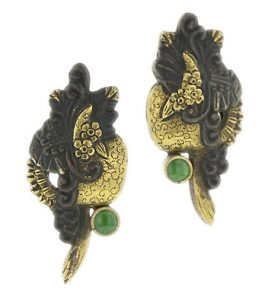 Victorian Shakudo Sword Decoration Earrings.