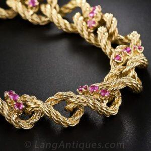 Shreve Ruby and Gold Rope Motif Link Bracelet.