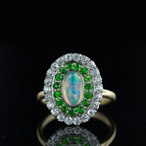 Shreve Opal, Diamond and Demantoid Ring.