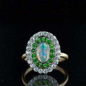 Shreve Opal, Diamond and Demantoid Ring.