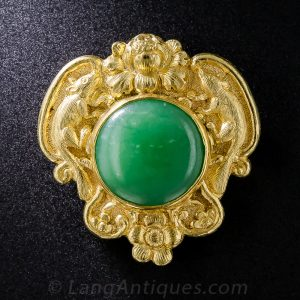 "Shreve & Co. 24k Gold and Jade Brooch with ""Year of the Rat"" and Floral Motifs"