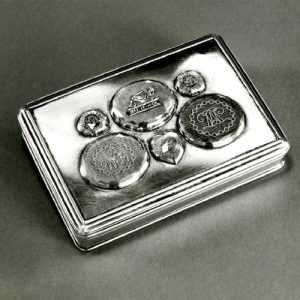 Silver Box with Mouldings on Edge of Lid and Base with a Gilt Interior and a Hinged Lid. 1650-1750 © The Trustees of the British Museum.