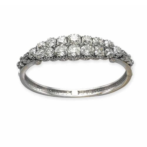 Silver and Gold Diamond Victorian Bangle.jpg
