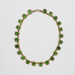 Seventeenth Century Spanish Gold, Enamel and Green Glass Necklace.