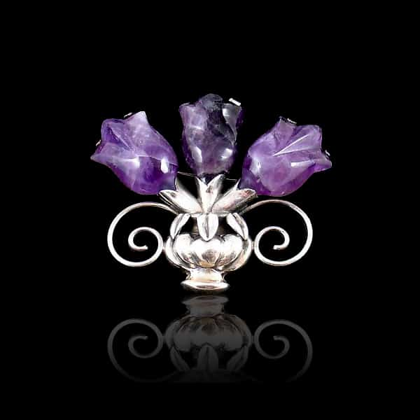 Spratling Carved Amethyst Flower, Sterling Silver Brooch.