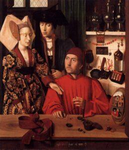 St. Eligius in His Workshop by Petrus Christus 1449.