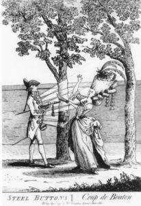 Cartoon c. 1777 Advertising Cut-Steel Buttons.