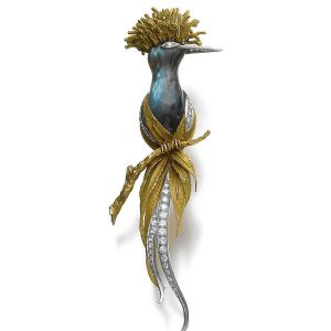 Sterle Labradorite and Diamond Bird Brooch. Photo Courtesy of Sotheby's.