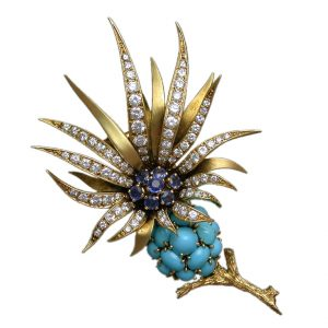 Sterle Sapphire, Diamond, Turquoise and Gold Floral Brooch.