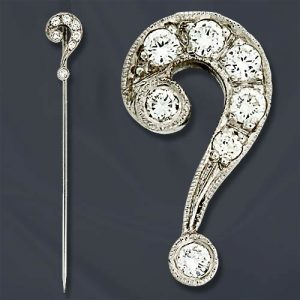 Diamond & White Gold Question Mark Stickpin.