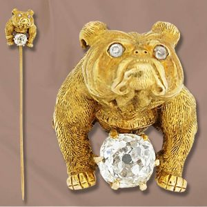 Victorian Diamond & Yellow Gold Bulldog Stickpin.