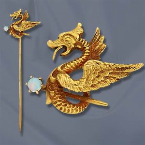 Art Nouveau Opal & Yellow Gold Griffin Stickpin.