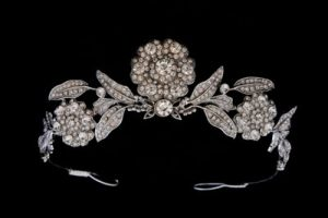 The Strathmore Combination Bandeau/Tiara with Detachable Diamond Flowers.