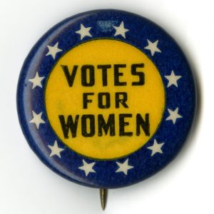 U.S. Suffrage Button in NAWSA's Official Yellow Color with 12 Stars Representing the States Where Women had Full Suffrage. Photo Courtesy of the National Museum of American History at the Smithsonian.