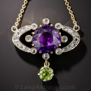 Edwardian Amethyst, Peridot and Diamond Necklace. The Gemstone Combination Was a Favorite of Queen Alexandria and Peridot a Favorite of King Edward VII.