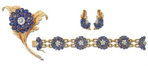 Pin, Bracelet, and Earring Suite by French jewelers Chaumet.