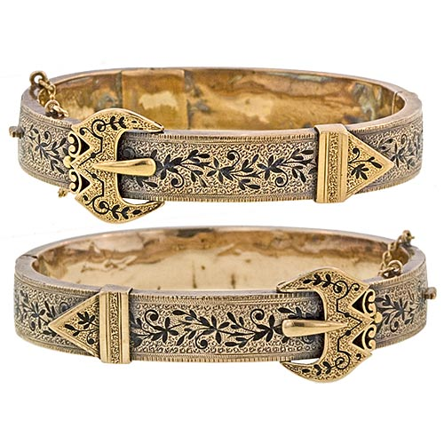 Matched Victorian Buckle Bracelets with Taille d'Epargné.