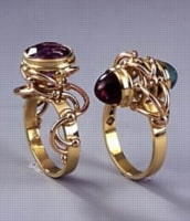 Tendrils Used in Jewelry. Two Contemporary Rings by Australian Jeweler Phill Mason.