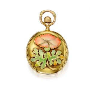 Tiffany & Co. Floral & Foliate Enamel Pendant Watch.