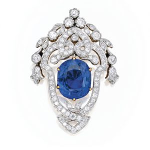 Tiffany & Co. Edwardian Blue Spinel and Diamond Brooch.