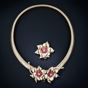 Retro Gaspipe Necklace With Ruby Accented Flowers. One Flower is Removable to Go From Necklace to Choker.