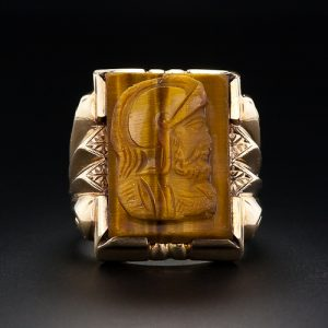 Tiger's-Eye Quartz Carved for a Gentleman's Ring.