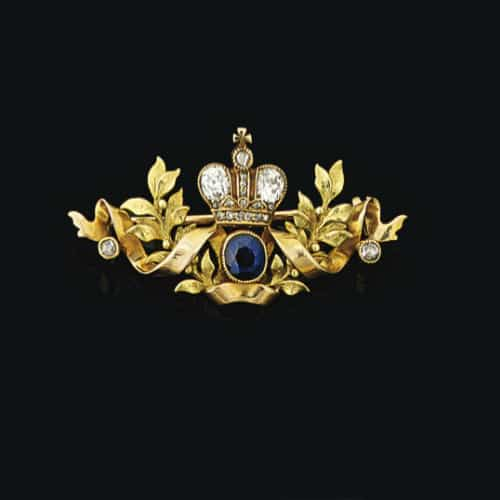 Sapphire and Diamond Bi-Color Gold Brooch by Tillander c. 1900. Photo Courtesy of Christie's.