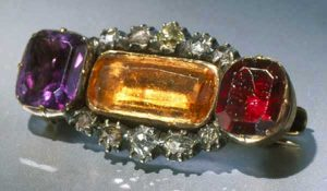 Topaz, Garnet, Amethyst and Diamond Brooch.
