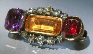 Topaz, Garnet, Amethyst and Diamond Brooch.