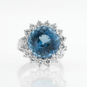 Blue Topaz and Diamond Ring.